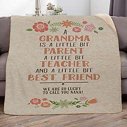 My Grandma, My Friend 50-Inch x 60-Inch Personalized Sherpa Blanket