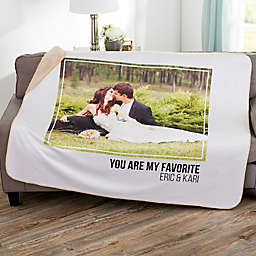 Wedding Photo Collage 60-Inch x 80-Inch Personalized Sherpa Blanket