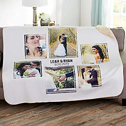 Wedding 6 Photo Collage Personalized Sherpa Blanket