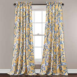 Dolores 84-Inch Room Darkening Rod Pocket Window Curtain in Yellow  (Set of 2)