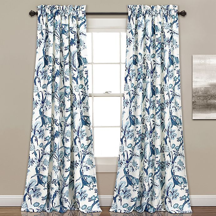 Alternate image 1 for Dolores 2-Pack 84-Inch Room Darkening Rod Pocket Window Curtain in Blue
