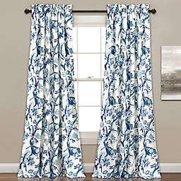 Dolores 2-Pack 84-Inch Room Darkening Rod Pocket Window Curtain in Blue