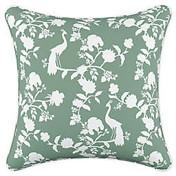 Skyline Furniture Peacock Silhouette Square Throw Pillow in Green