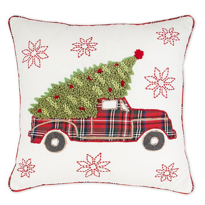 Alternate image 1 for Bee & Willow™ Home Tree on Truck Embroidered Square Throw Pillow