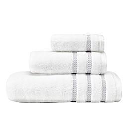 Vera Wang™ Textured Trellis 3-Piece Towel Set in White Arctic