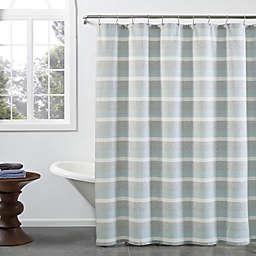 KAS ROOM Zerena Striped 72-Inch x 96-Inch X-Long Shower Curtain in Aqua