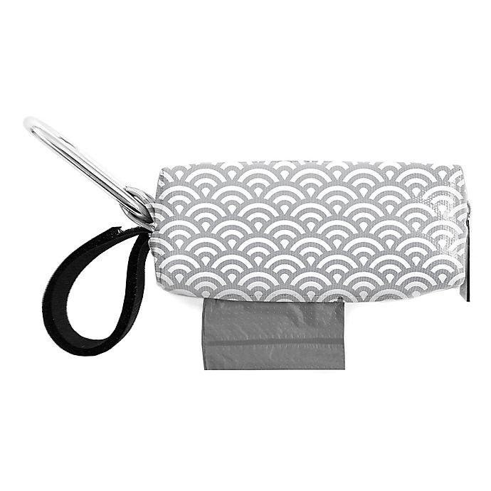 Alternate image 1 for Oh Baby Bags Clip-On Mini Wet Bag Dispenser in Grey/White Scallop
