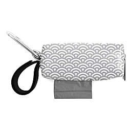 Oh Baby Bags Clip-On Mini Wet Bag Dispenser in Grey/White Scallop