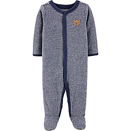 carter's® Terry Stripe Bear Footie in Navy