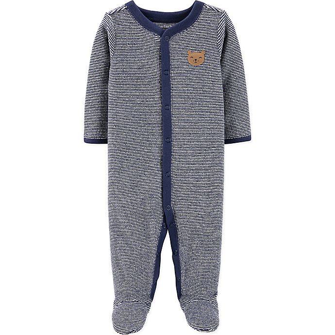 Alternate image 1 for carter's® Terry Stripe Bear Footie in Navy