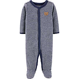 carter's® Size 6M Terry Stripe Bear Footie in Navy