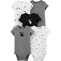 carter's® 5-Pack Dino Short Sleeve Bodysuits in Grey