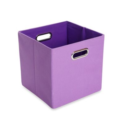 Modern Littles Color Pop Canvas Folding Storage Bin In Solid Purple Baby