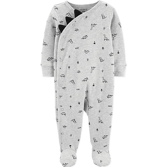 Alternate image 1 for carter's® Dinosaur Footie in Heather Grey