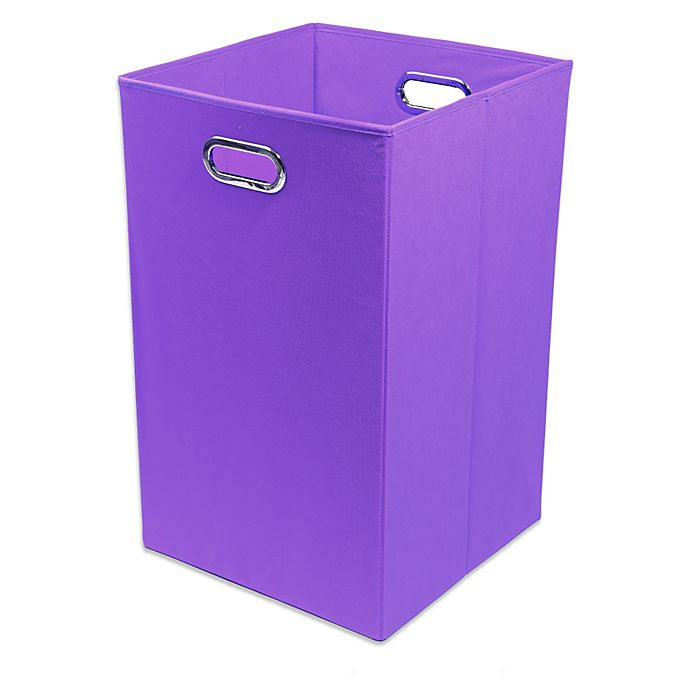 Alternate image 1 for Modern Littles Color Pop Canvas Folding Laundry Bin in Solid Purple