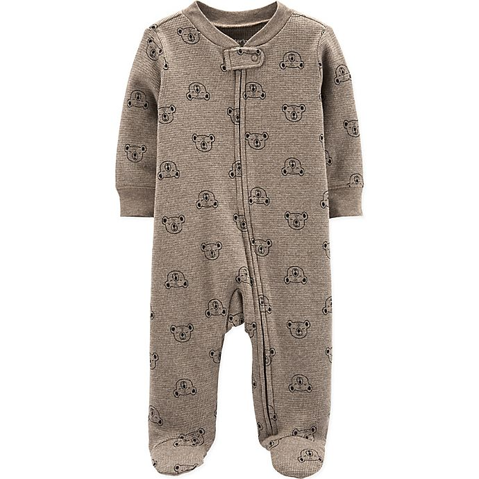 Alternate image 1 for carter's® Bear Thermal Footie in Brown