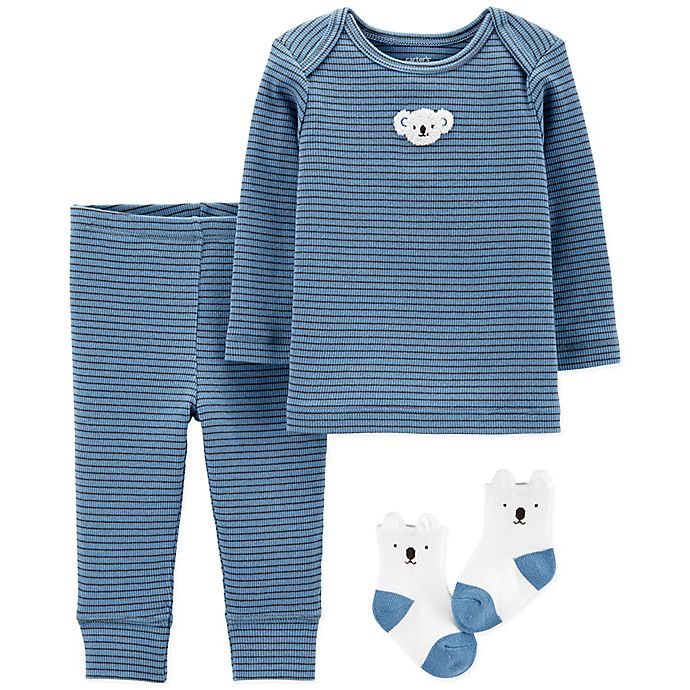 Alternate image 1 for carter's® 3-Piece Koala Long Sleeve Top, Pant and Sock Set in Blue