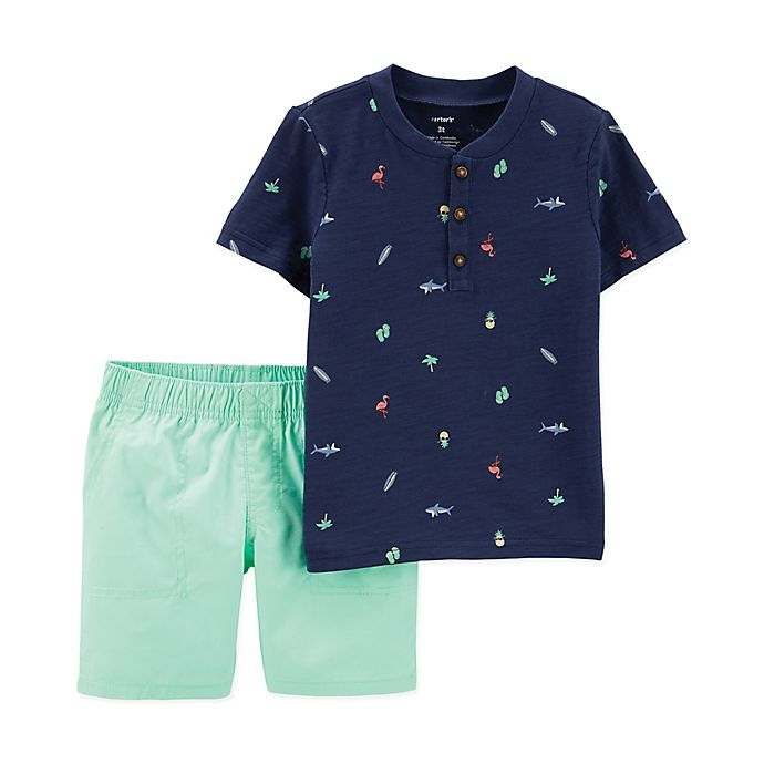 Alternate image 1 for carter's® 2-Piece Henley and Short Set in Mint/Navy
