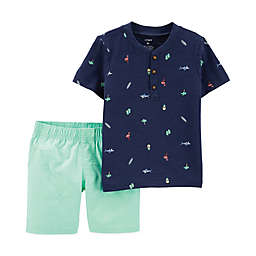 carter's® 2-Piece Henley and Short Set in Mint/Navy