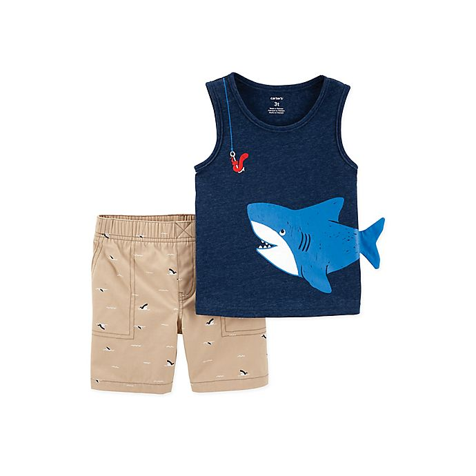 Alternate image 1 for carter's® 2-Piece Shark Tank and Short Set in Navy/Khaki