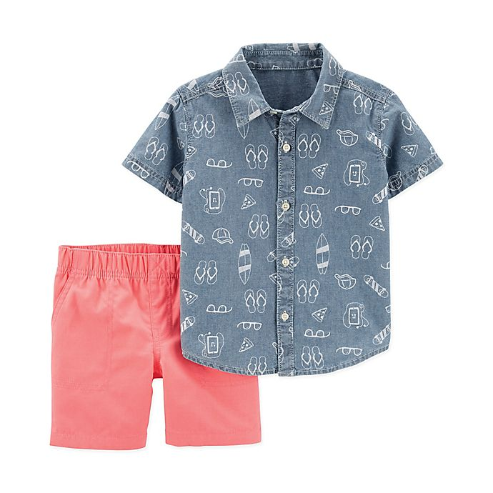 Alternate image 1 for carter's® 2-Piece Button-Front Shirt and Short Set in Chambray/Coral