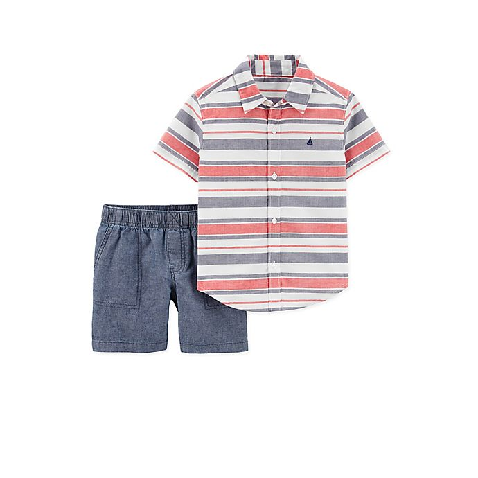 Alternate image 1 for carter's® 2-Piece Stripe Shirt and Short Set in Red/Blue