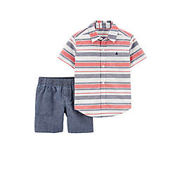 carter's® 2-Piece Stripe Shirt and Short Set in Red/Blue
