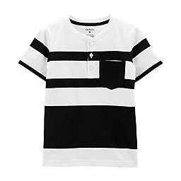 carter's® Stripe Henley Shirt in Black/White