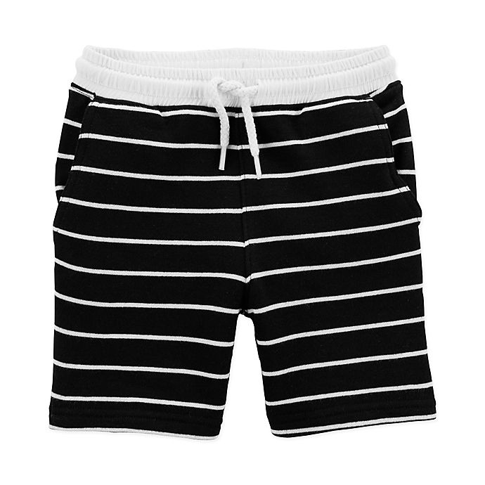 Alternate image 1 for carter's® Stripe Knit Short in Black/White