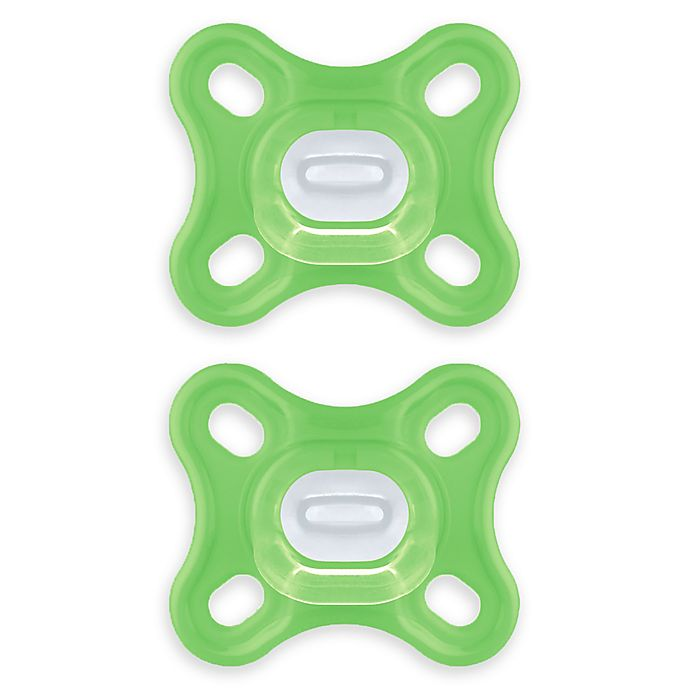 Alternate image 1 for MAM Comfort Design Collection ™ 0-4 Months Unisex Pacifiers in Green (Set of 2)