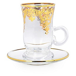 Classic Touch Vivid Plus 12-Piece Cup and Saucer Set in Gold