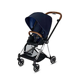 CYBEX Mios Stroller with Chrome/Brown Frame and Indigo Blue Seat