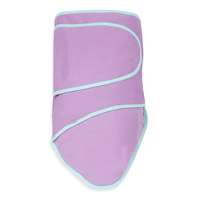 Alternate image 1 for Miracle Blanket® Swaddle in Purple with Mint Trim