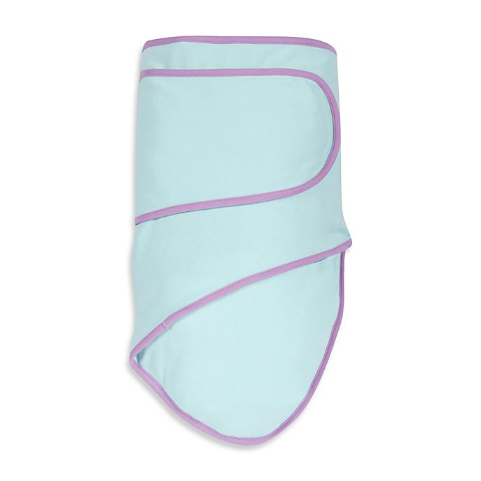 Alternate image 1 for Miracle Blanket® Swaddle in Mint with Purple Trim