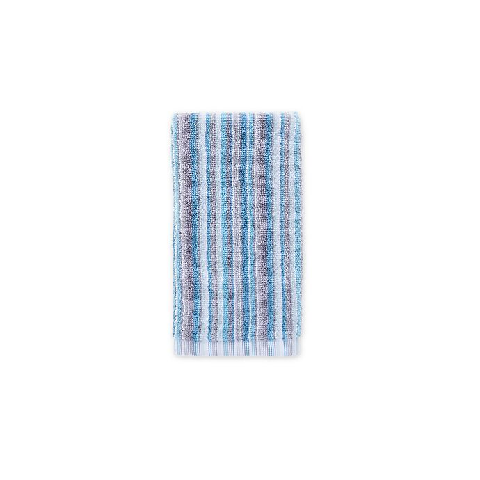 Alternate image 1 for Fashion Value Multi Stripe Fingertip Towel in Teal