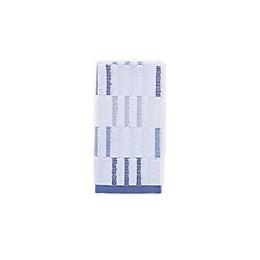 Fashion Value Style Lounge Herringbone Plaid Fingertip Towel in Indigo