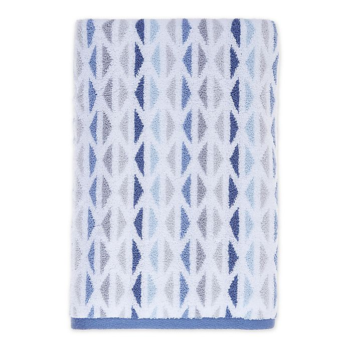 Alternate image 1 for Fashion Value Geometric Tile Bath Towel in Indigo