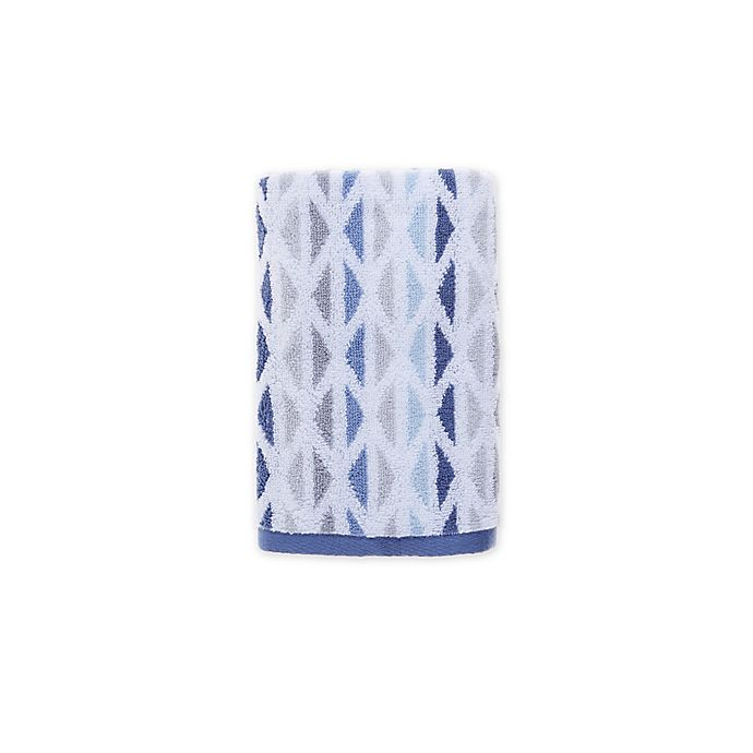 Alternate image 1 for Fashion Value Geometric Tile Hand Towel in Indigo