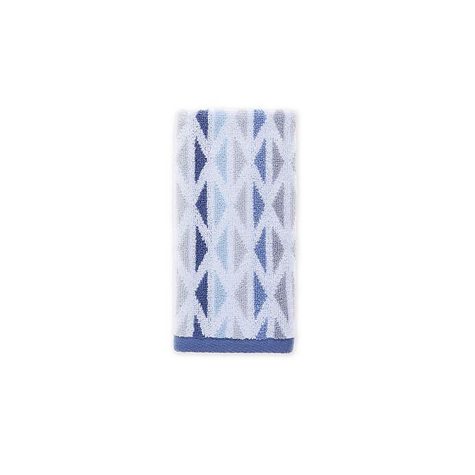Alternate image 1 for Fashion Value Geometric Tile Fingertip Towel in Indigo