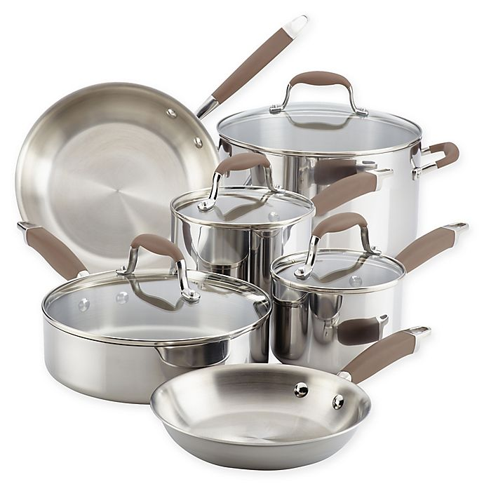 Alternate image 1 for Anolon® Tri-Ply Bronze 10-Piece Stainless Steel Cookware Set
