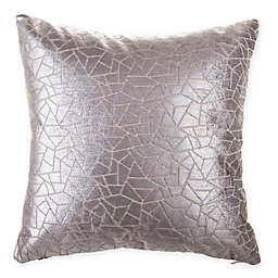 Geometric Jacquard Square Throw Pillow in Grey