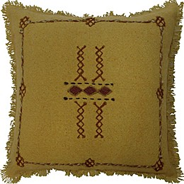 Global Caravan Embroiderd Square Throw Pillow in Gold/Rust