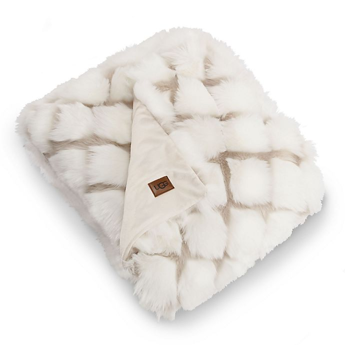 Alternate image 1 for UGG® Kaley Reversible Throw Blanket in Snow/Birch