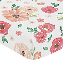 Sweet Jojo Designs Watercolor Floral Fitted Crib Sheet in Coral/White