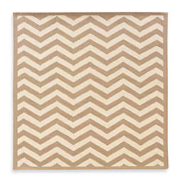 Linon Home Silhouette Collection Chevron Rug in Beige/White