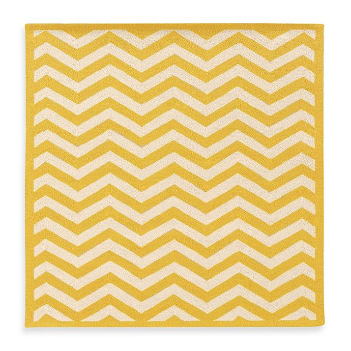 Alternate image 1 for Linon Home Chevron 1'10 x 2'10 Accent Rug in Yellow/White