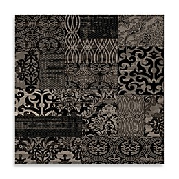Linon HomeJewel Damask Rug in Black