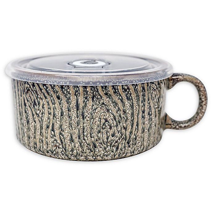 Alternate image 1 for Boston Warehouse® Wood Grain Soup Mug with Lid