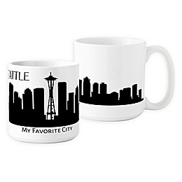 Cathys Concepts Seattle Cityscape Coffee Mug in White (Set of 2)