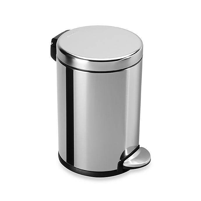 Alternate image 1 for simplehuman® Fingerprint-Proof 4.5-Liter Round Step Trash Can